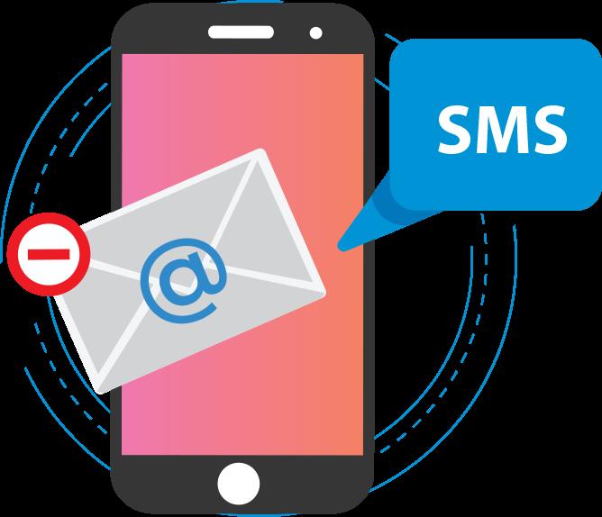 Hibás email cím emlékeztető SMS